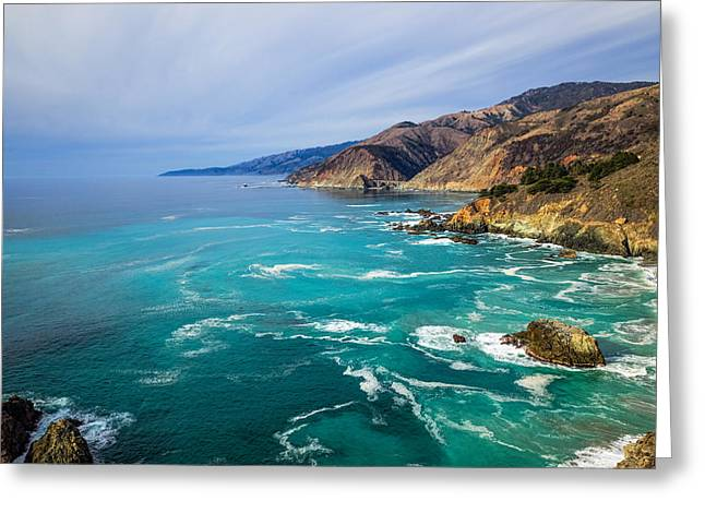 Bixby Bridge Greeting Cards - Beautiful Big Sur With Bixby Bridge Greeting Card by Priya Ghose