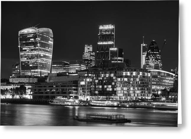Stylistic Greeting Cards - Beautiful black and white image of London City at night with lov Greeting Card by Matthew Gibson