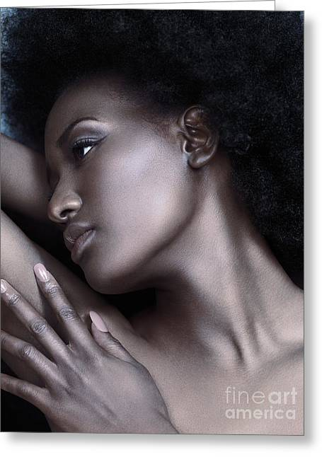 Beautiful Black Woman Face With Shiny Silver Skin Greeting Card by Oleksiy Maksymenko