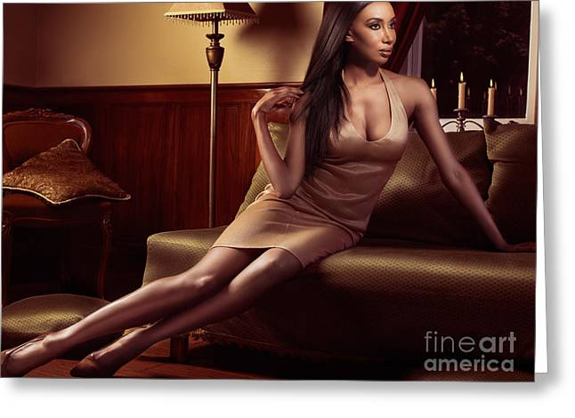 Straight Hair Greeting Cards - Beautiful black woman sitting on a sofa Greeting Card by Oleksiy Maksymenko