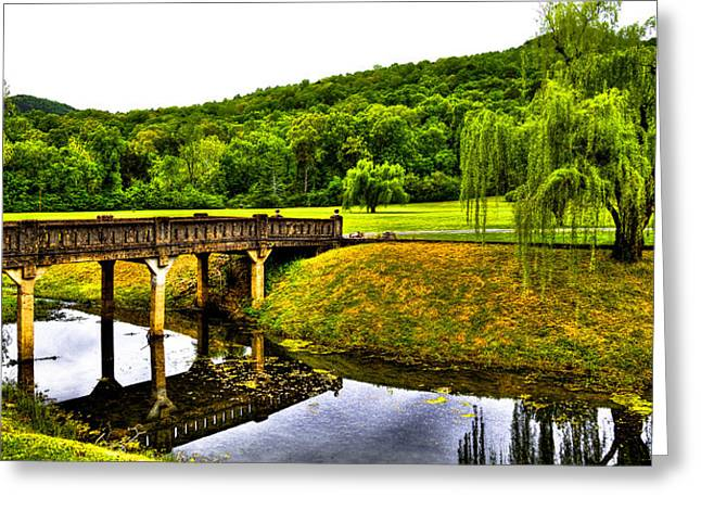 Bridge Of Flowers Greeting Cards - Beautiful Blowing Spring Park Greeting Card by David Patterson