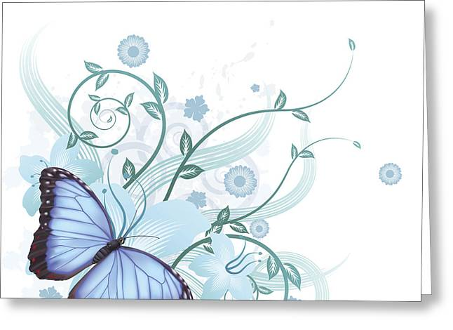 Beautiful Blue Butterfly Background Greeting Card by Christos Georghiou