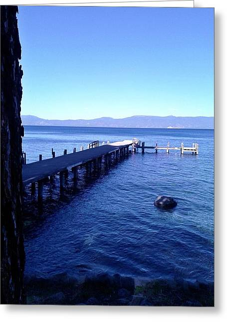 Dock Pyrography Greeting Cards - Beautiful Blue Lake Tahoe Greeting Card by Andrew  Stoffel