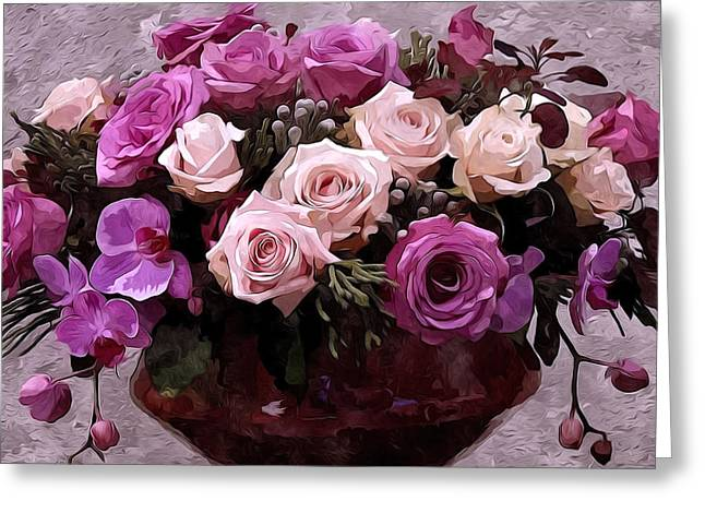 Old Greeting Cards - Beautiful bouquet of flowers in vase Greeting Card by Lanjee Chee