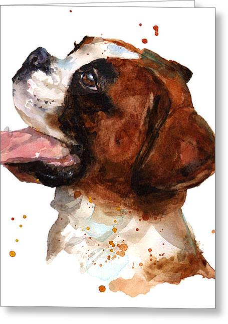 Dog Portraits Greeting Cards - Beautiful Boxer Greeting Card by Alison Fennell