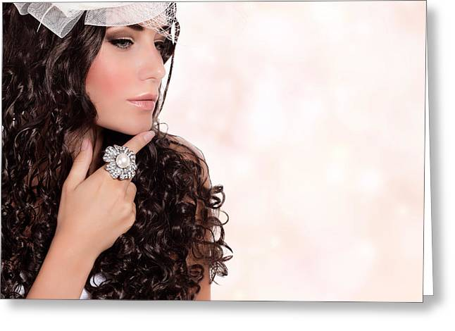 Hair Accessory Greeting Cards - Beautiful bride portrait Greeting Card by Anna Omelchenko