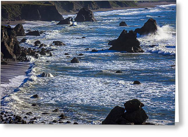 Rip Tide Greeting Cards - Beautiful California Coast Greeting Card by Garry Gay