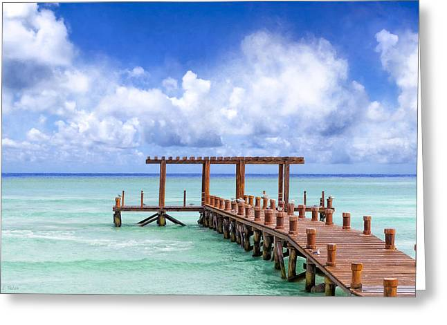 Mark Tisdale Greeting Cards - Beautiful Caribbean Sea Pier - Playa Del Carmen Greeting Card by Mark Tisdale
