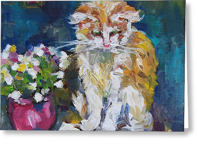 Portrait With Still Life Greeting Cards - Beautiful Cat Dohchi Greeting Card by Becky Kim