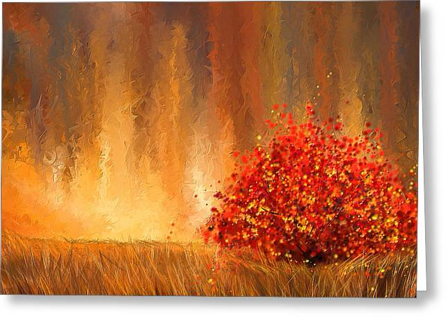 Red Art Greeting Cards - Beautiful Change- Autumn Impressionist Greeting Card by Lourry Legarde