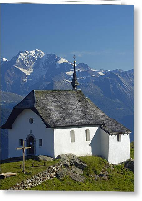Swiss Cross Greeting Cards - Beautiful chapel in the mountains Greeting Card by Matthias Hauser