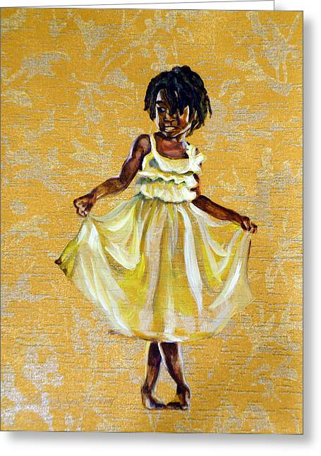 African-american Paintings Greeting Cards - Beautiful Charm Greeting Card by Clayton Singleton