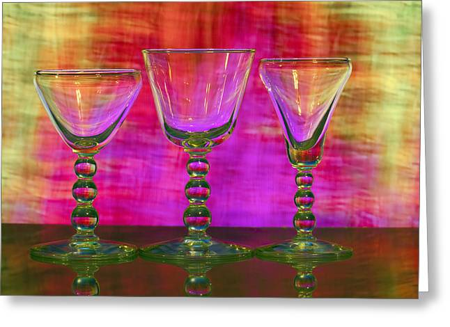 Wine Reflection Art Greeting Cards - Beautiful Colorful Cocktail Glasses Greeting Card by Judy Kennamer
