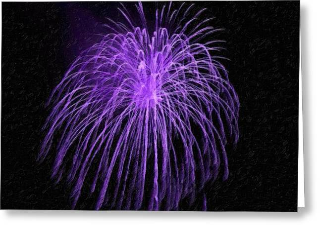 4th July Paintings Greeting Cards - Beautiful colorful holiday fireworks Greeting Card by Lanjee Chee