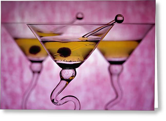 Glass Table Reflection Greeting Cards - Beautiful Colorful Martini Glasses Greeting Card by Judy Kennamer