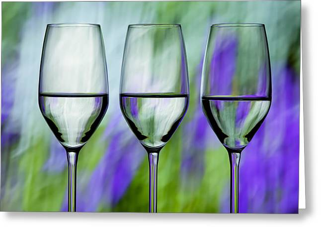Best Sellers -  - Champagne Glasses Greeting Cards - Beautiful Colorful Wine Glasses Greeting Card by Judy Kennamer