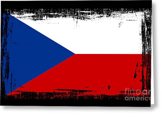 Czech Flag Greeting Cards - Beautiful Czech Republic Flag Greeting Card by Pamela Johnson