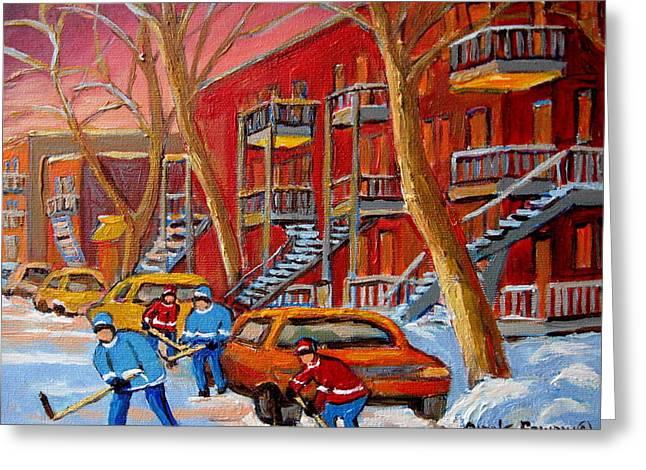 Hockey Paintings Greeting Cards - Beautiful Day For Hockey Greeting Card by Carole Spandau