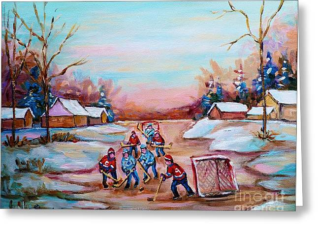 Country Hockey Greeting Cards - Beautiful Day For Pond Hockey Winter Landscape Painting  Greeting Card by Carole Spandau