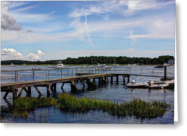 Wooden Platform Greeting Cards - Beautiful Day in Newburyport Harbor Greeting Card by Laura Duhaime