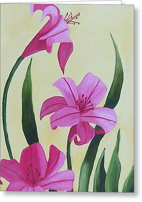 Stretched Cotton Canvas Greeting Cards - Beautiful Daylilies  Greeting Card by Ruth  Housley