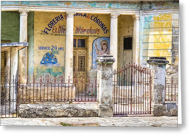 Christ Child Greeting Cards - Beautiful Decay - Flower Shop in Merida Mexico Greeting Card by Mark Tisdale