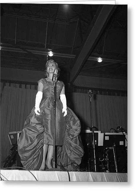Big Band Greeting Cards - Beautiful Dinah Shore on stage Greeting Card by Retro Images Archive