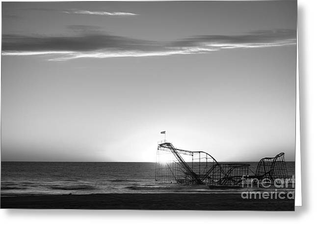 Jet Star Roller Coaster Greeting Cards - Beautiful Disaster BW Greeting Card by Michael Ver Sprill
