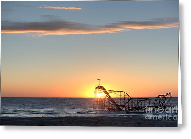 Jet Star Roller Coaster Greeting Cards - Beautiful Disaster Greeting Card by Michael Ver Sprill