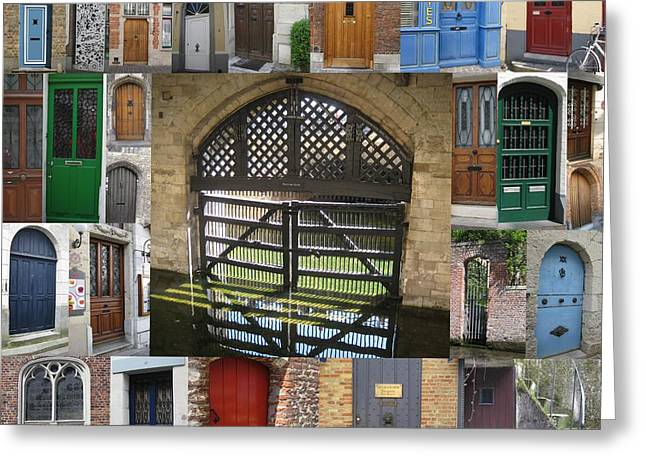 Photographs With Red. Greeting Cards - Beautiful Doors in London France and Belgium Greeting Card by Cathy Jacobs