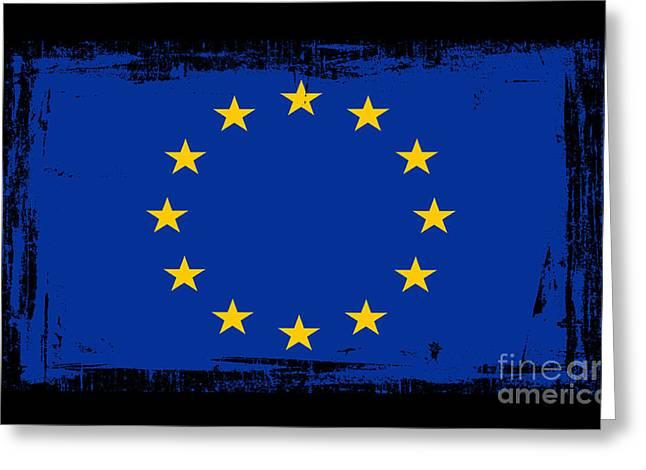 Europe Mixed Media Greeting Cards - Beautiful European Union Flag Greeting Card by Pamela Johnson