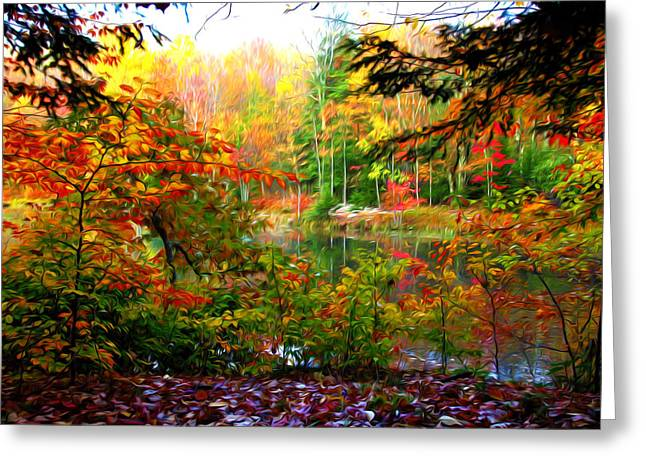 Trees Reflecting In Water Paintings Greeting Cards - Beautiful fall reflected in the still waters 2 Greeting Card by Lanjee Chee