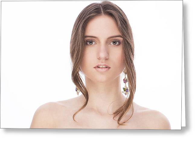 Cute Jewelry Greeting Cards - Beautiful Female With Earrings Greeting Card by Anastasia Yadovina