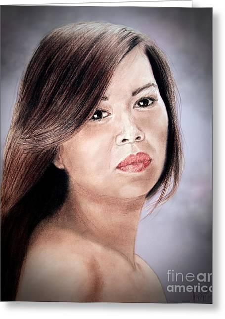 Filipina Greeting Cards - Beautiful Filipina Woman Fade to Black Version Greeting Card by Jim Fitzpatrick