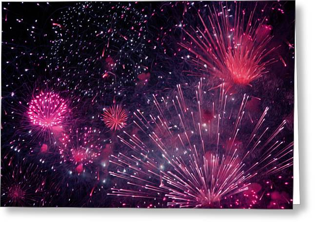 4th July Paintings Greeting Cards - Beautiful fireworks 12 Greeting Card by Lanjee Chee