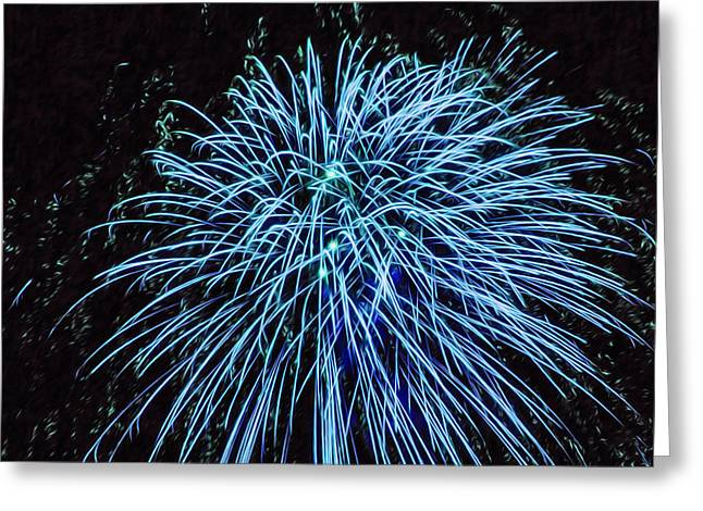 4th July Paintings Greeting Cards - Beautiful fireworks 13 Greeting Card by Lanjee Chee