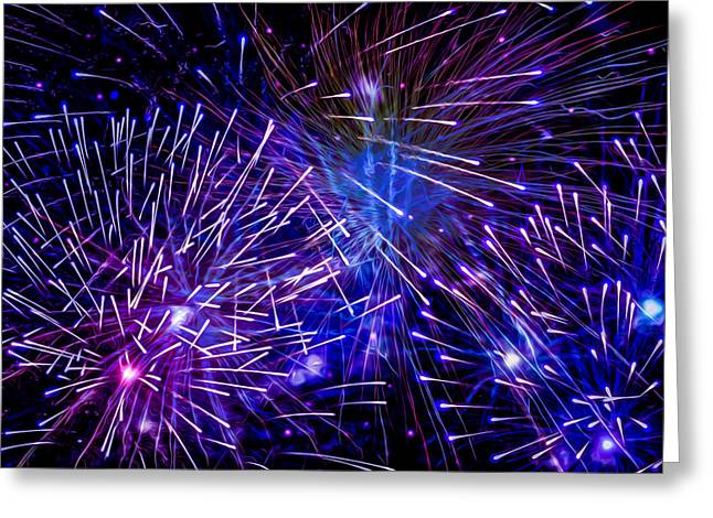 4th July Paintings Greeting Cards - Beautiful fireworks  3 Greeting Card by Lanjee Chee