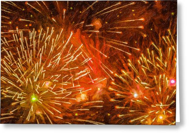 4th July Paintings Greeting Cards - Beautiful fireworks 4 Greeting Card by Lanjee Chee
