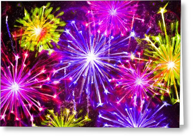 4th July Paintings Greeting Cards - Beautiful fireworks  6 Greeting Card by Lanjee Chee