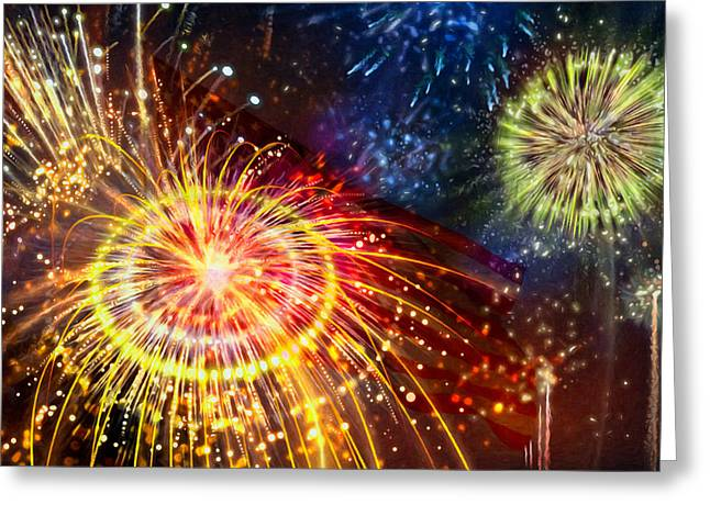 4th July Paintings Greeting Cards - Beautiful fireworks 8 Greeting Card by Lanjee Chee