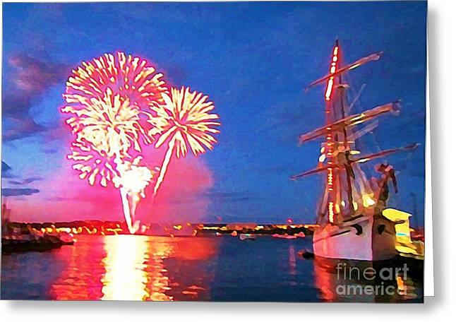 Art In Halifax Greeting Cards - Beautiful Fireworks in Halifax Harbor Greeting Card by John Malone