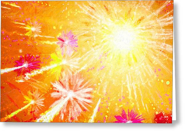 4th July Paintings Greeting Cards - Beautiful fireworks Greeting Card by Lanjee Chee