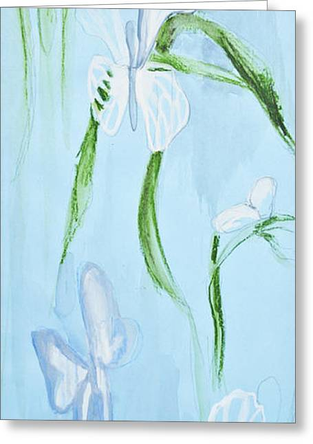 Original Art Photographs Greeting Cards - Beautiful floral painting in blue tones Greeting Card by Aleksandar Mijatovic