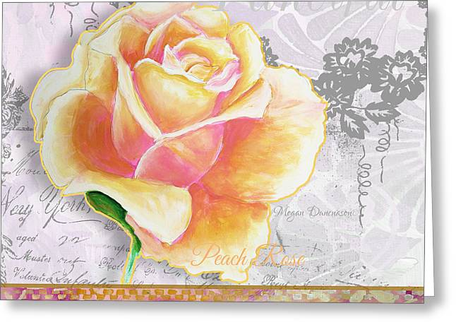 Vine Leaves Greeting Cards - Beautiful Floral Peach Rose Original Flower Painting by Megan Duncanson Greeting Card by Megan Duncanson