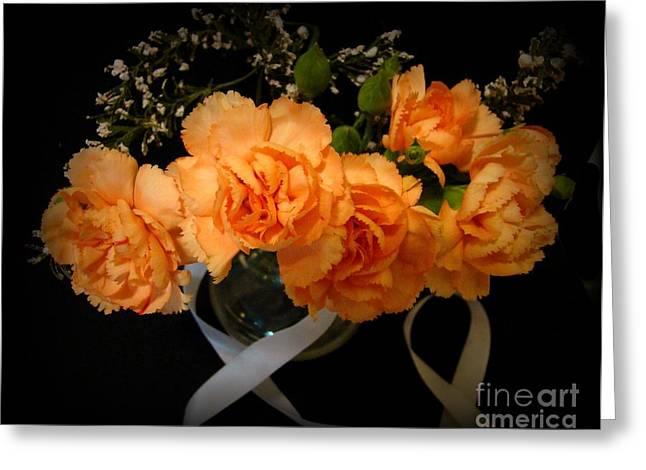 Angels Breath Greeting Cards - Beautiful Florals on Black Greeting Card by Carol Grenier