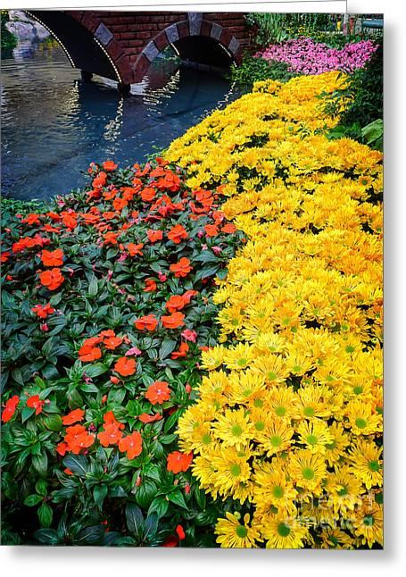 Bellagio Greeting Cards - Beautiful Flower Garden Bellagio Las Vegas Greeting Card by Edward Fielding