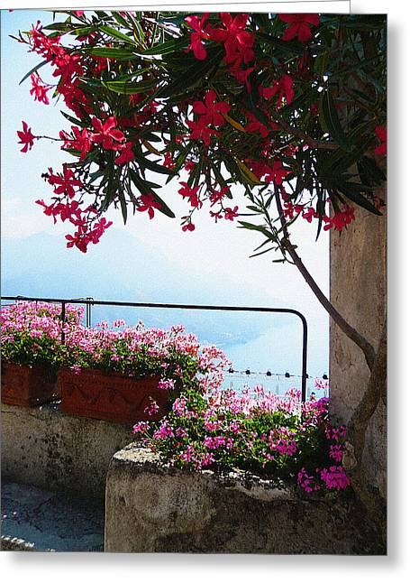 Old Churches Greeting Cards - Beautiful Flowers Of Ravello Italy Greeting Card by Irina Sztukowski