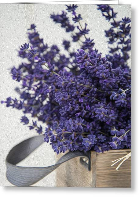 Foliage Fragrance Greeting Cards - Beautiful fragrant lavender bunch in rustic home styled setting  digital painting Greeting Card by Matthew Gibson
