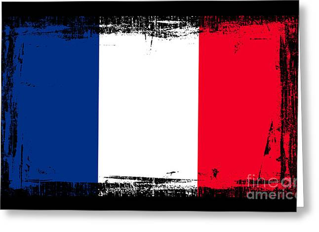 Europe Mixed Media Greeting Cards - Beautiful France Flag Greeting Card by Pamela Johnson