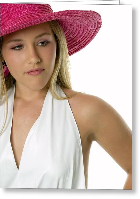 16 Year Old Greeting Cards - Beautiful Girl in Pink Hat Greeting Card by Bob Pardue